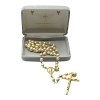 Gold Tone Faux Pearl Catholic Rosary In Original Box