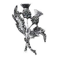 Silver Tone Marcasite Scottish Thistle Brooch