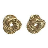 Gold Tone Twisted Love Knot Clip Earrings