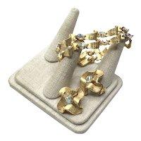 Gold Tone AB Faceted Rhinestone Bracelet & Clip Earrings