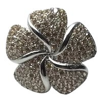 Sterling Silver Clear Rhinestone Floral Ring Size 9