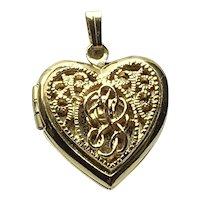 GoldTone Filigree Heart Locket Pendant