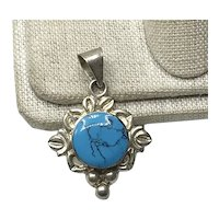 Mexican Sterling Silver Turquoise Pendant