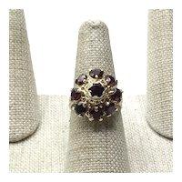14K Garnet Dome Ring Size 6 1/2