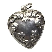 Sterling Silver Repousse Double Sided Puffy Heart Pendant