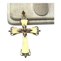 Early 14K Gold Pearl Christian Cross