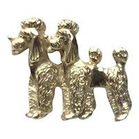 Gold Tone Napier Double Poodle Brooch
