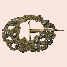 Victorian Gold Filled Rhinestone Repousse Belt Buckle