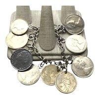 Sterling Silver  Silver Tone & Copper Tone Coin Bracelet