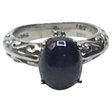 Sterling Silver Synthetic Star Sapphire Ring Size 5