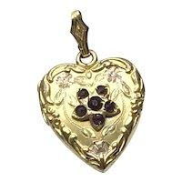 Repousse Gold Filled Garnet Double Photo Heart Locket