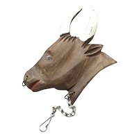 Wooden Moose Brooch With Watch Chain