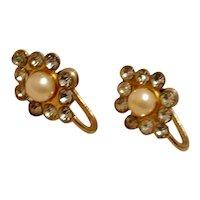 Gold Tone Faux Pearl Rhinestone Earrings