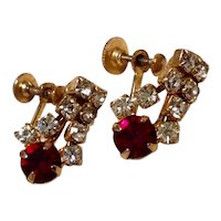 Gold Tone Clear & Red Rhinestone Earrings
