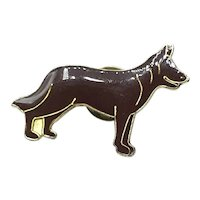 Silver Tone Enameled Dog Lapel