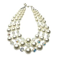 Faux Pearl & Crystal Triple Strand Necklace