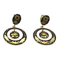Damascene Enameled Clip Dangle Earrings