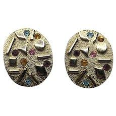 Sarah Coventry Modernist Gold Tone Rhinestone Clip Earrings