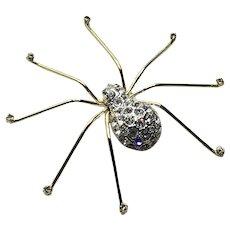 Gold Tone Metal Clear Rhinestone Spider Brooch