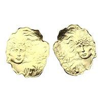 Gold Tone Large Pierced Earrings