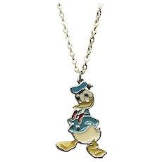Gold Tone Enameled NOS Walt Disney Productions Donald Duck Pendant Necklace