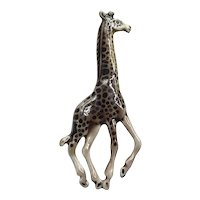 Gold Tone Enameled Giraffe Brooch