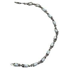 Sterling Silver Faux Opal Bracelet