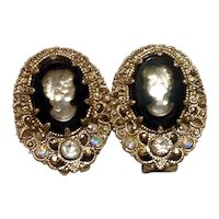 Silver Tone Celluloid Cameo Rhinestone Earrings NOS