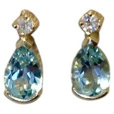 Sterling Silver Blue & White CZ Earrings