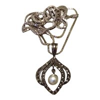 Sterling Marcasite Cultured Pearl Pendant Necklace
