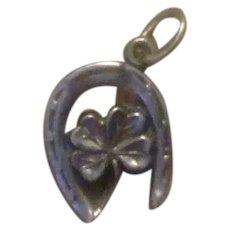 Sterling Wishbone Four Leaf Clover Charm