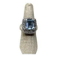 Sterling Silver Blue Topaz Ring Size 7 1/2