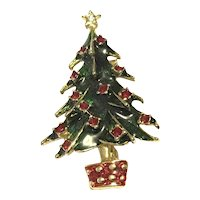 Gold Tone Enameled Christmas Tree Brooch