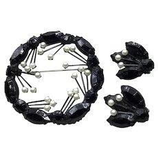 1930'S 40'S Black Glass & Pearl Brooch & Earrings