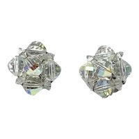 Silver Tone Laguna Clear Crystal Clip Earrings