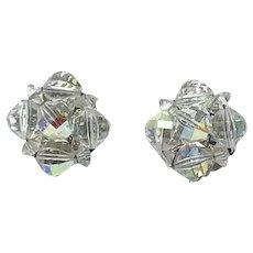 Silver Tone Laguna Clear Crystal Clip Earrings