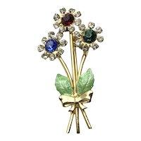 Gold Tone Enameled Rhinestone Floral Brooch