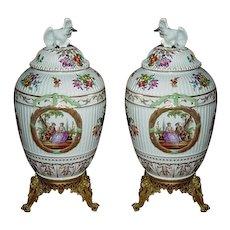 Pair of Early 19th Century Royal Berlin Porcelain Ormolu KPM Large Lidded Urns Jar - Red Tag Sale Item