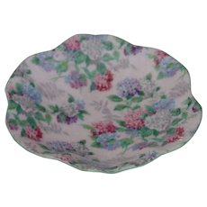 Shelley Pink w Blue Green Flowers Chintz Small Pin Dish or Tray - Red Tag Sale Item