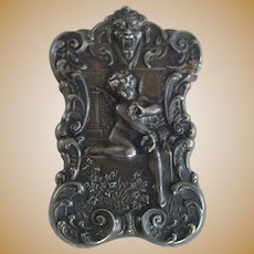 Vintage Gorham Ornate Sterling Silver Match Safe, Aesthetic Period Design with Cherubs