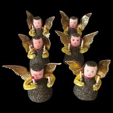 6 Vintage Spun Cotton Mica West Germany Angels
