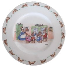 Royal Doulton Signed Barbara Vernon Bunnykins Christmas Pudding Plate