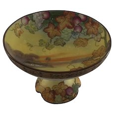 Nippon Hand Painted Footed Compote with Fruit & Moriage Border