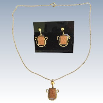 Amco Necklace & Screw-Back Earrings, 1/20th of 12K Gold Filled