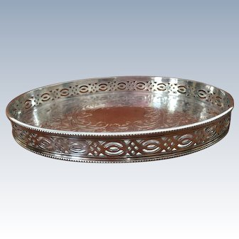 """Small Barker Brothers Gallery 6.5"""" Serving Tray Silver Plate on Copper Floral Chased"""