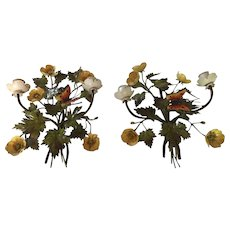 "Pair of Vintage Italian Tole 12"" Candle Wall Sconces - Flowers with Butterflies"