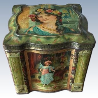 Antique Keens Mustard Tin Victorian Beautiful Ladies Circa 1900