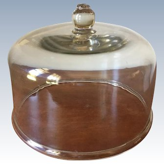 """19th Century 10.75""""  Blown Glass Cake Dome - Folded Rim With Applied Knob"""