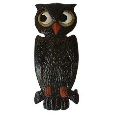 Vintage Halloween German Diecut Owl 1920's Perched on Branch
