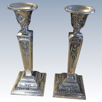 Art Nouveau Antique Silver Plated Candlesticks